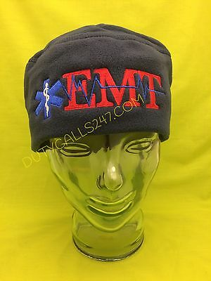 NEW Embroidered EMT Medical Star Of Life Navy Fleece Beanie Cap Hat