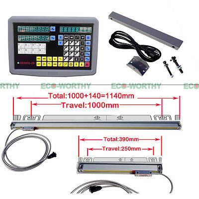 Digital Readout Display 2 Axis DRO Grating Kit+1000mm/250mm Travel Linear Scale