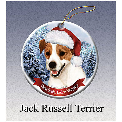 Jack Russell Terrier Howliday Porcelain China Dog Christmas Ornament