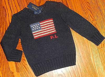 POLO RALPH LAUREN AUTHENTIC BABY/KIDS BOYS BRAND NEW NAVY SWEATER Size 3T, NWT