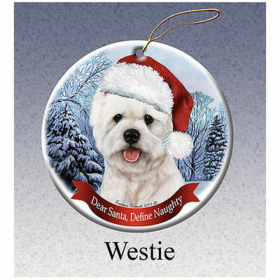 West Highland Terrier Westie Howliday Porcelain China Dog Christmas Ornament