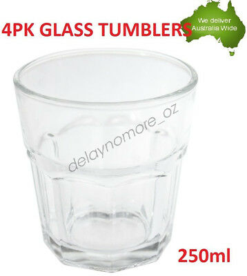 250ml Glass Tumblers Water Cup Whiskey Cups Drinking Tumbler Glasses 4pk Party