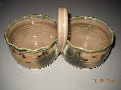 2003 Clouds of Folsom Pottery Double Condiment Dish (#2)  Ivy Pattern