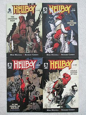 HELLBOY- FOUR Issue Lot- THE CROOKED MAN #1, #2, CHAPEL, DOUBLE FEATURE -Mignola