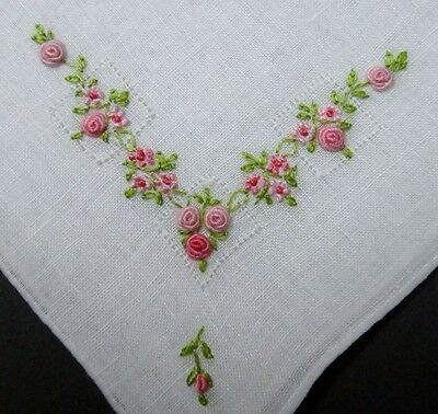 Vintage 3D Roses Embroidery Linen Hanky Wedding - Bullion Stitch & French Knots