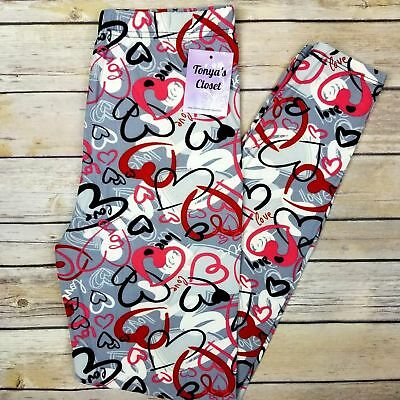 Heart Love Print Leggings Pink Red Hearts Buttery Soft One Size OS