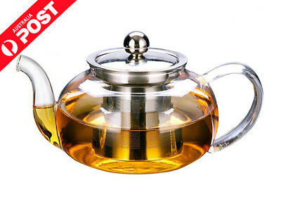 820ml Glass Teapot with removable Stainless Steel Infuser Stylish Borosilicate