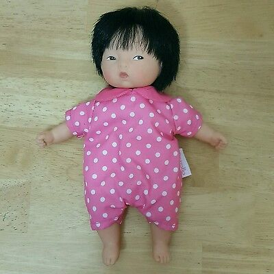 "Corolle Asian Baby Doll 8"" Pink White Polka Dot Outfit"