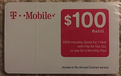 New T-Mobile $100 Prepaid Refill Card