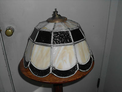 """Vintage 14"""" Leaded Stained Slag Glass Shade"""