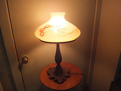 """Signed Handel Obverse Painted Table Lamp 18"""" Tall - Lily Pad Base"""