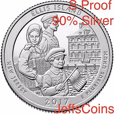 2017 S Ellis Island Park Quarter 90% SILVER Proof ATB U.S.Mint Set Low Price NJ