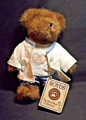 Boyds The Head Bean Collection #1 Nurse Bear In Scrubs With Paper & Cloth Tags