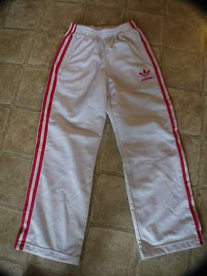 Adidas Classic White With Pink Stripes Athletic Pants Girls X-Small