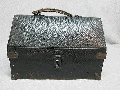 UNLISTED Early 1900's UNIVERSAL Dome LUNCHBOX & THERMOS Simulated Leather,Rivets