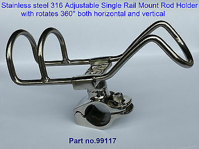 Quality Rod Holder x 2 RAIL Mount Double Wire Stainless Steel Fishing Boat Kayak
