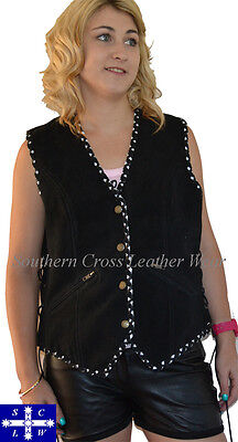 Ladies Suede Motorcycle Vest with Black/White Braiding Size S-3XL