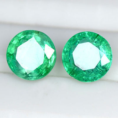2.3 Cts Natural Amazing Top Green Emerald Zambia Round Cut Pair 6.5 mm Gemstone