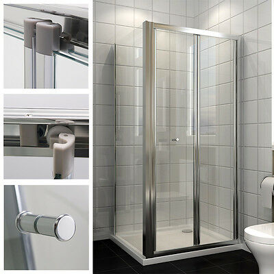 Bi fold Shower Doors Enclosure Shower Tray Glass Screen Cubicle Side Panel Waste