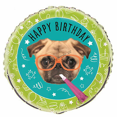 "Happy Birthday Party Decoration Pug Dog Puppy Helium Air Foil Balloon 18"" 21st"