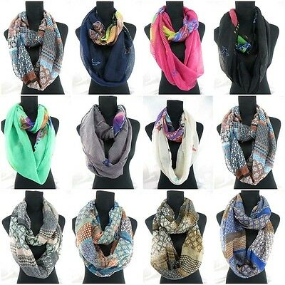 US SELLER-10pc bohemian retro seagull floral infinity scarf loop scarf wholesale