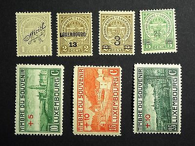 7 Old Luxembourg Stamps With Overprints