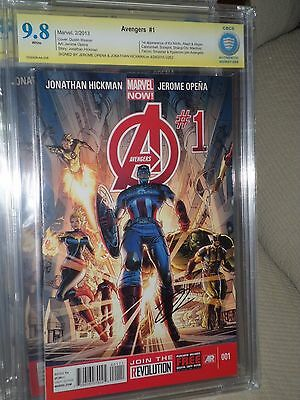 Avengers #1 CBCS SS 9.8 2x signed Opena and Hickman CGC Iron Man Captain Thor