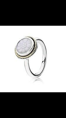 pandora mother of pearl ring Silver With Gold Trim