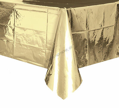 Wedding Party Metallic Gold Tablecover Table Cover Cloth Plastic Tablecloth Xmas