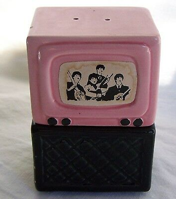 The Beatles salt & pepper ceramic TV & Stand - with Label