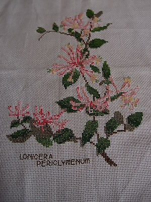 Handmade completed cross stitch 'Honeysuckle' ready to frame