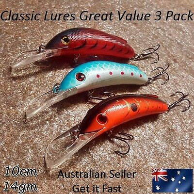 3 x Deep Diving Lures for Yellowbelly, Cod, Redfin, Callop, Perch, Bass, Barra