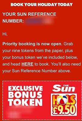 the sun holidays Priority Booking Reference!