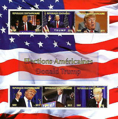 Central African Rep 2015 CTO Donald Trump US Presidents Elections 6v M/S Stamps