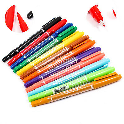 1PCS Waterproof Colorful Set Fine Twin Tip Permanent Marker Pen Oily Craft A1790