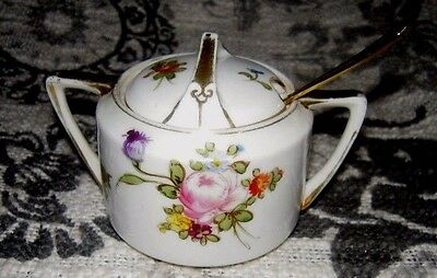 Authentic VERY RARE Nippon Hand Painted Gold & Floral Sugar Bowl w/Lid & Spoon