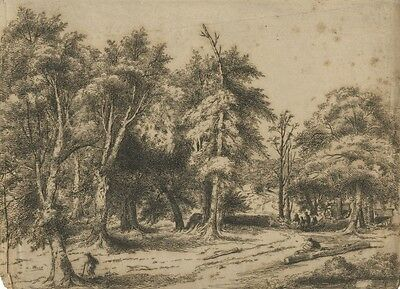 Woodland Scene with Wood Cutters - Original 19th-century etching print