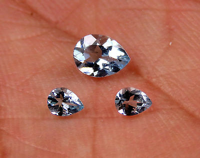 0.58 CTS Certified Natural Mozambique Aquamarine Pear 3 Pcs Set Loose Gemstones