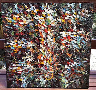 Original abstract painting on box canvas 1m x 1m