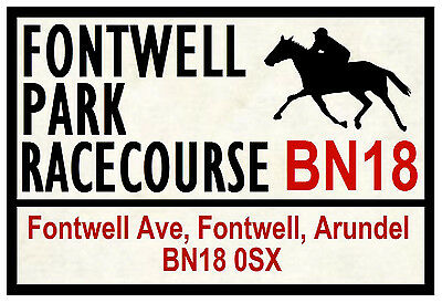 Horse Racing Road Signs (Fontwell) - Fun Souvenir Novelty Fridge Magnet - Gift
