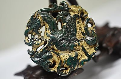Unique Chinese old Green jade carved Hollow beast Bird statue  G6