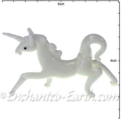 New Hand Made Glass Minis /Fairy garden Magical white Unicorn & Red Dragon