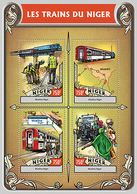 Niger 2016 MNH Trains of Niger Blueline 4v M/S Railways Stamps