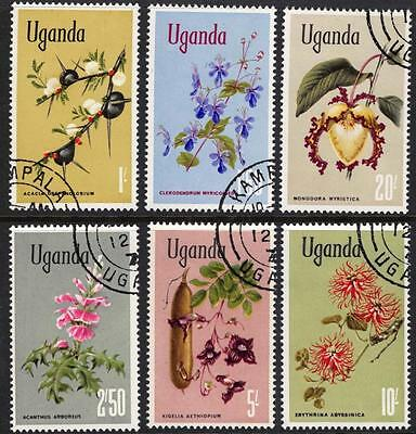 Uganda Africa Stamps 1969 Flowers High Value Set of 6 Very Fine Used