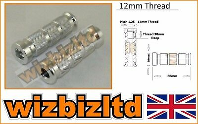 Two Motorbike Foot Pegs for Rearsets (12mm Knurled Alloy) FOOT12CH