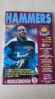 WEST HAM UNITED V MIDDLESBOROUGH MAY 1999 programme