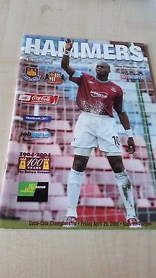 WEST HAM UNITED V SUNDERLAND APRIL 2005 programme