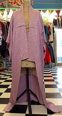 Beautiful Full Length Silk Original Vintage Print Kimono Pink/Purple Freesize