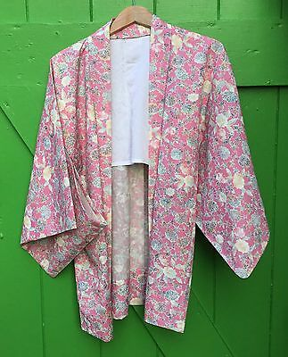 Beautiful Original Vintage Pink And Floral Kimono Free Size