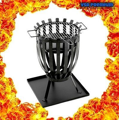Outdoor Firepit Bowl BBQ Cooking Grill Barbecue Patio Fireplace Tray Log Burner